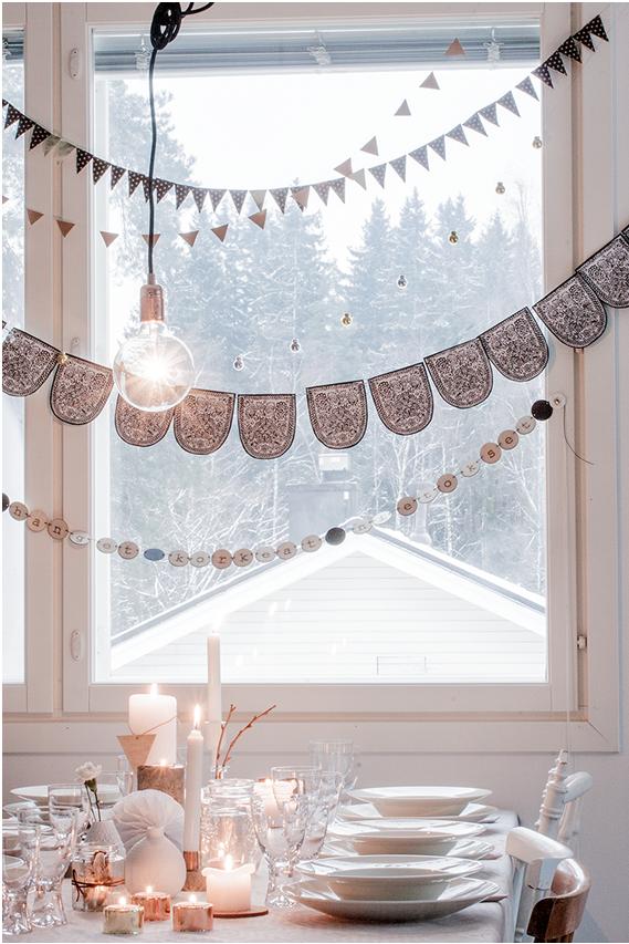 Decoración estilo Nórdico Mesa con Velas