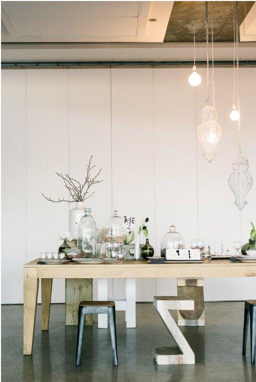 Bodas estilo escandinavo decoración mesa