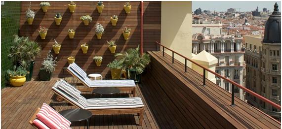 Alojamiento de Diseño. Hotel de Diseño Praktik en Madrid, terraza