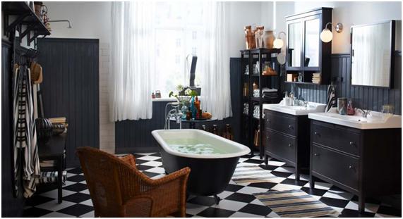 Baño en blanco y negro Ikea