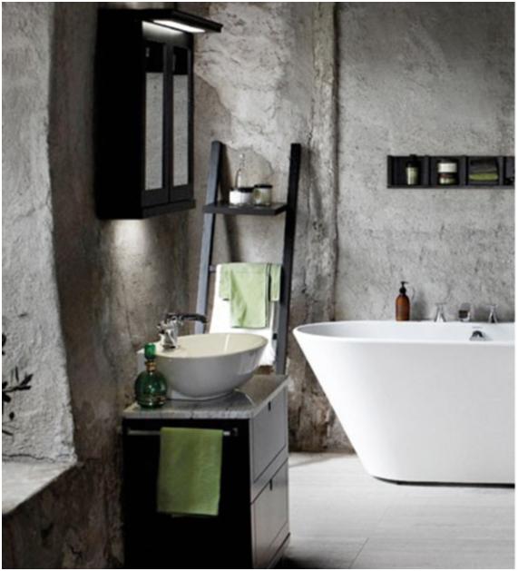 Baño en blanco y negro nórdico rústico