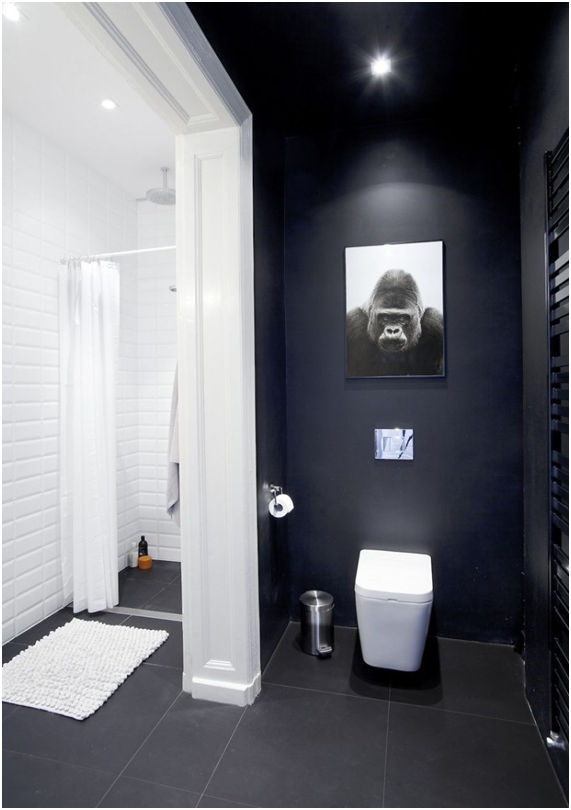 Baños de estilo nórdico en Blanco y Negro