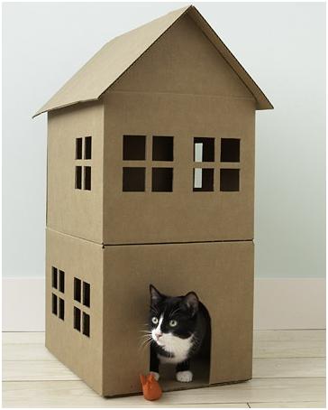 Diy casa cartón gatos