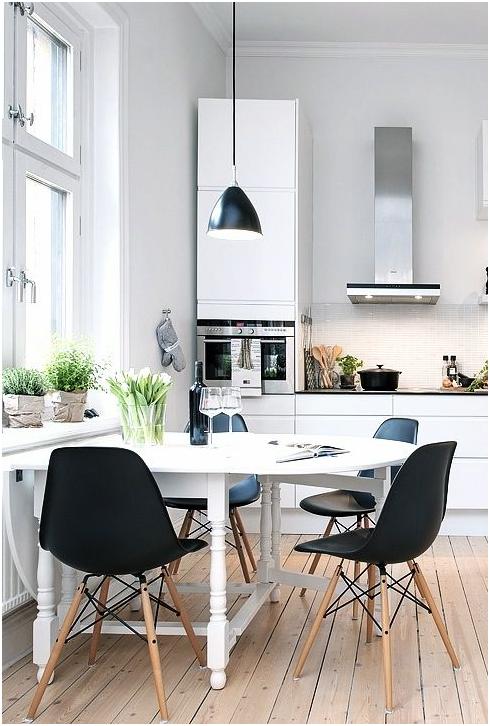 Iluminación comedor nórdico en cocina