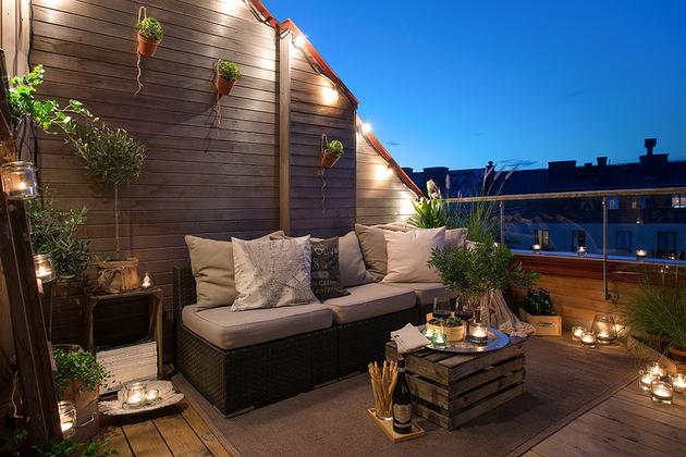 Cajas de fruta decoración terraza