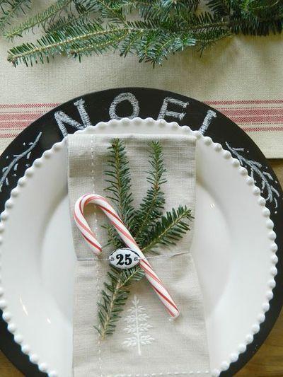Mesa de Navidad Table Setting bastoncillo