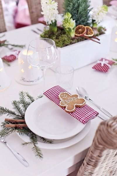 Mesa de Navidad Table Setting Ginger  Bread