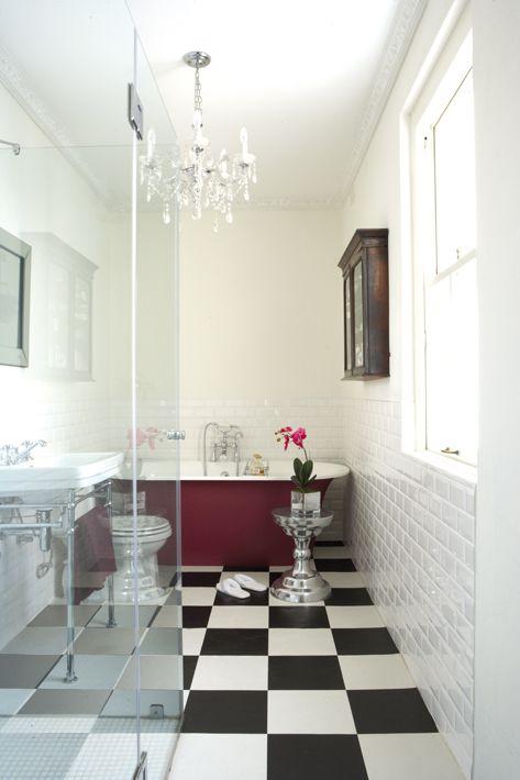 Marsala y Estilo Nórdico en el baño