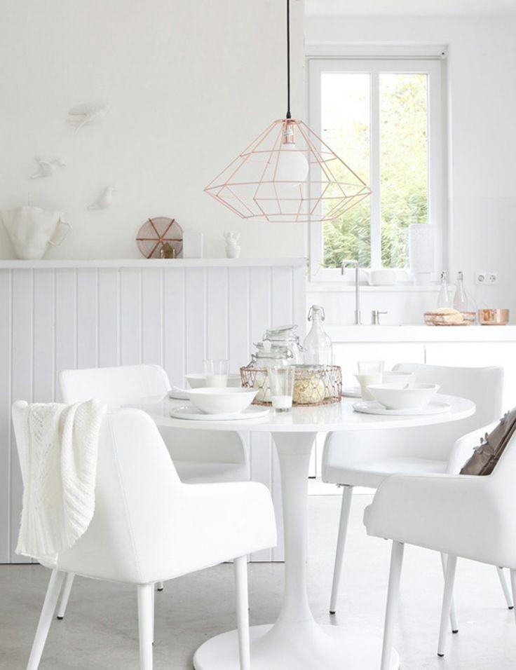 Blanco y Dorado mesa comedor
