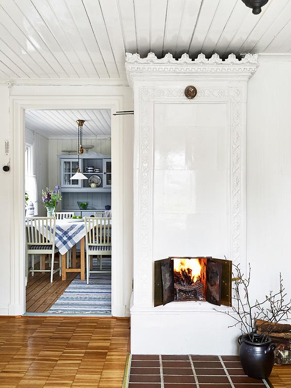 Casa de Verano en Suecia chimenea