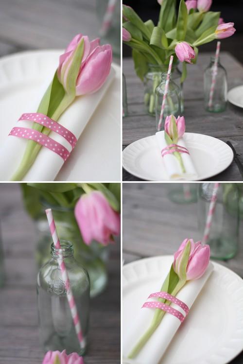 Tablesetting con tulipanes