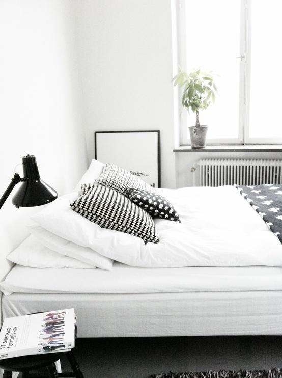 Cabecero nórdico blanco y negro