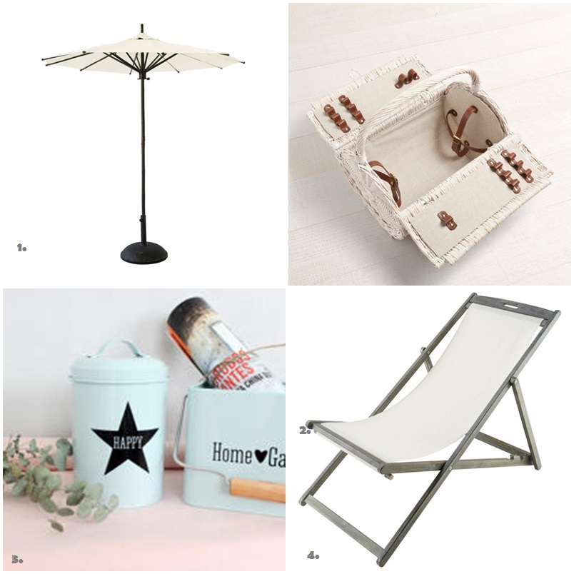 Shopping list para camping azul y blanco