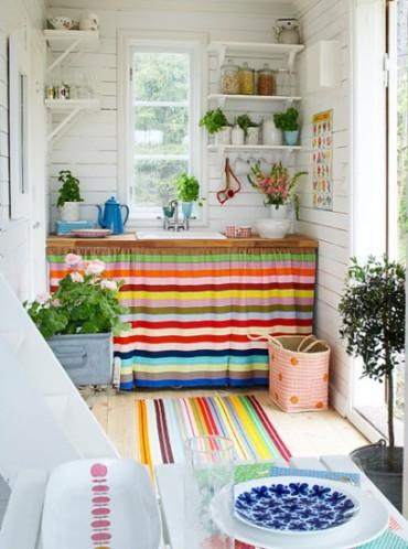 Cortinas color armario cocina