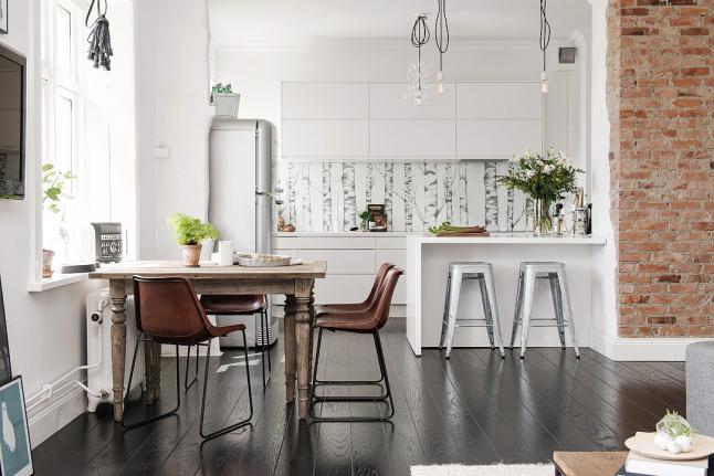 Detalles de estilo casa sueca cocina