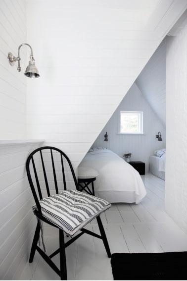 Dormitorio abuhardillado en negro y blanco