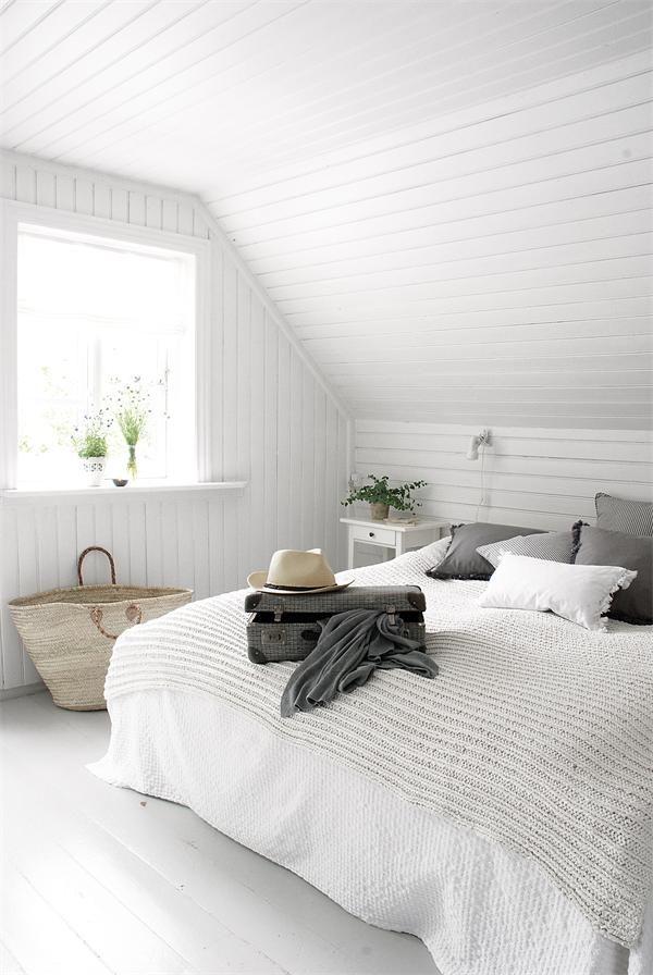 Dormitorio neo Rústico Escandinavo blanco