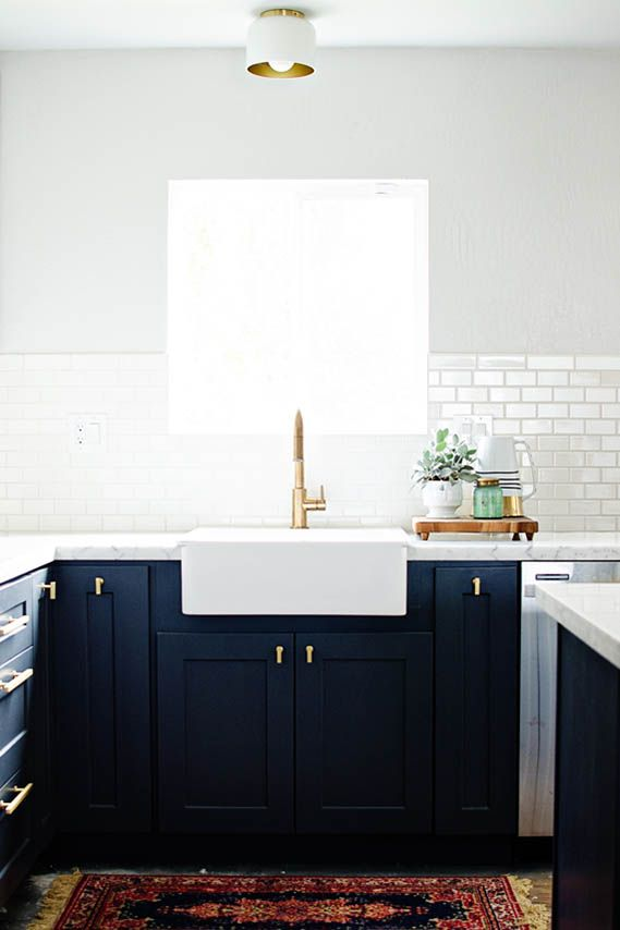 Cocinas Azul Oscuro y Dorado