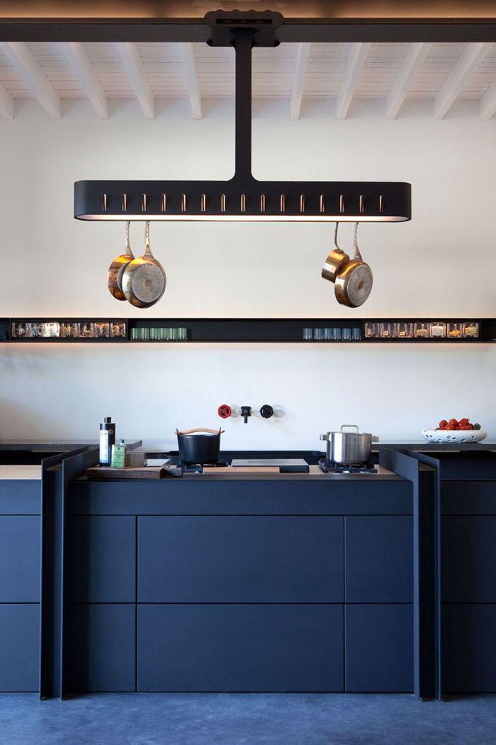 Cocinas Azul Oscuro con Blanco