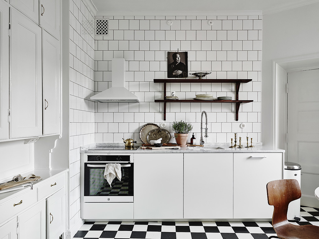 Opens Shelving Kitchen black and white