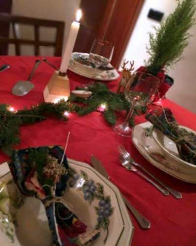 Mesa Navidad Natural Roja