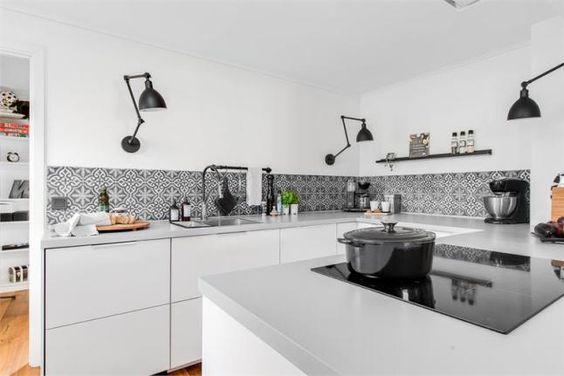 Flexos en la Cocina blanca y negra