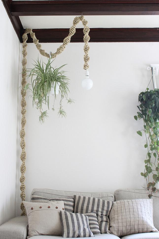 Decorar con plantas macramé