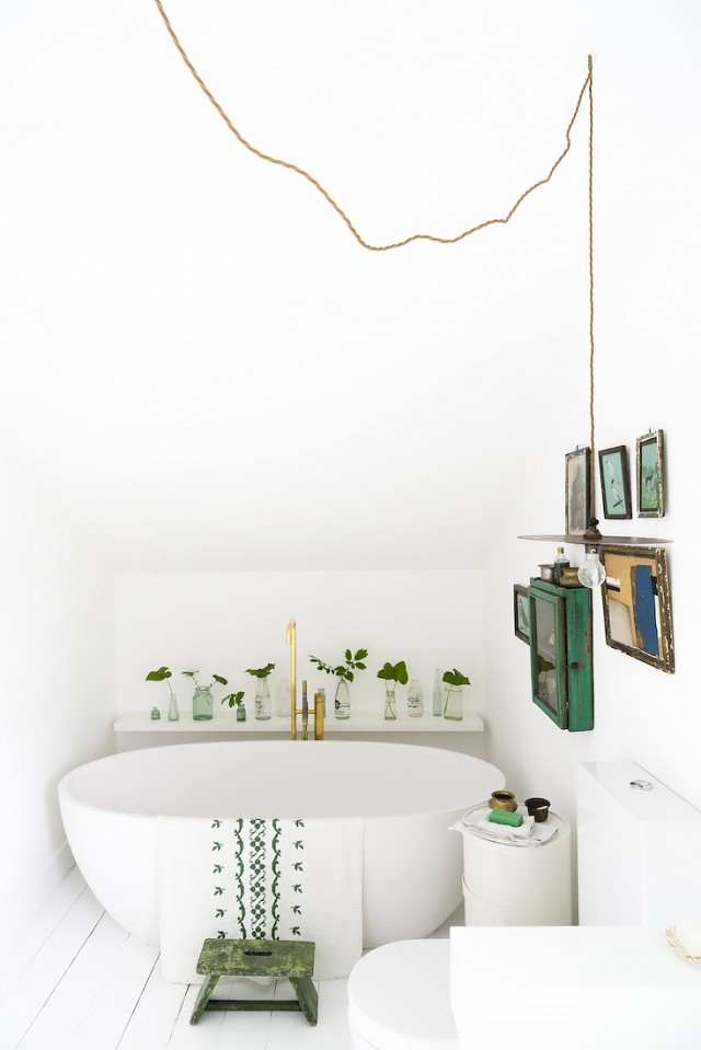 Decorar con plantas baño