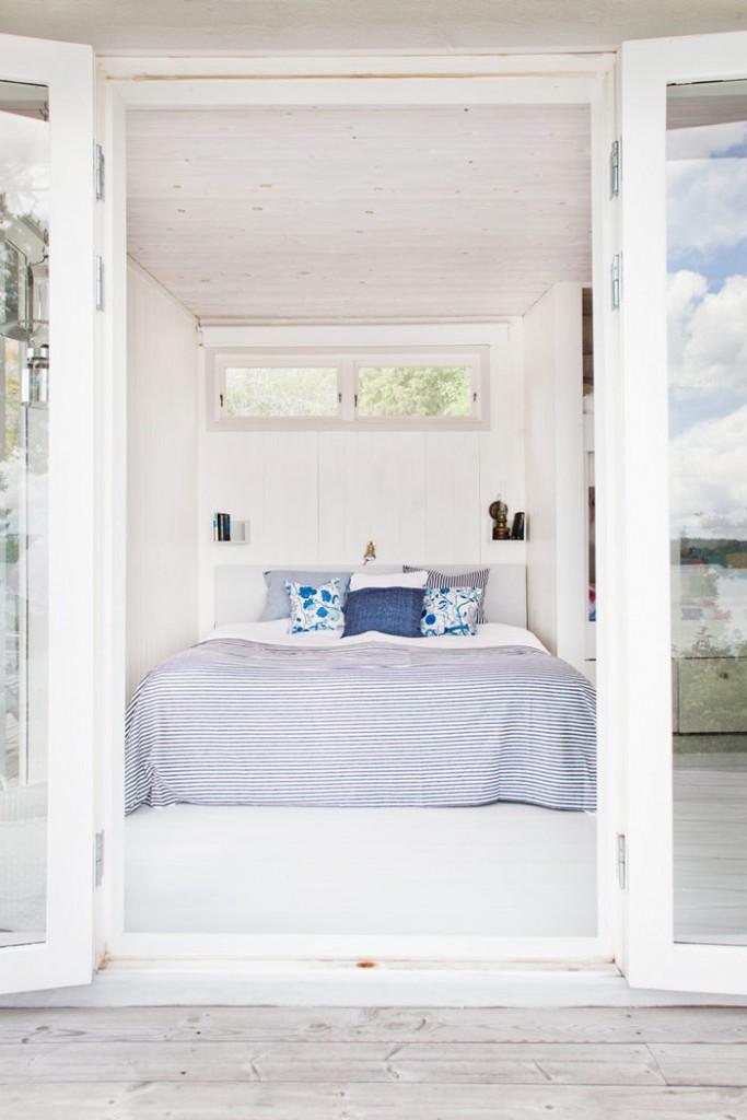 Casa de Verano en Suecia Dormitorio en tonos azules