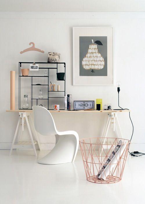 Estilo nórdico y color rosa home office