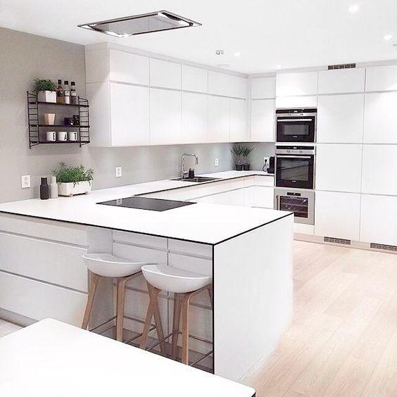 Cocinas integradas o Independientes con taburetes para espacios pequeños