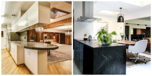 Antes y después de una cocina armarios superiores