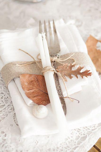 Table setting mesas de otoño con hojas secas