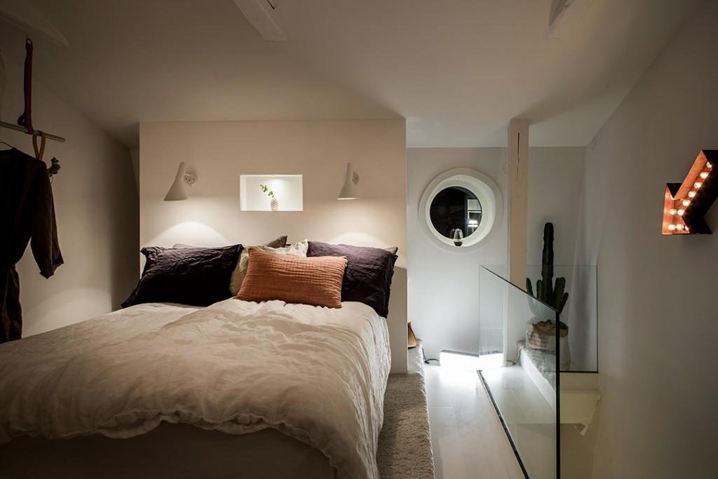 Estilo nórdico en el dormitorio iluminación