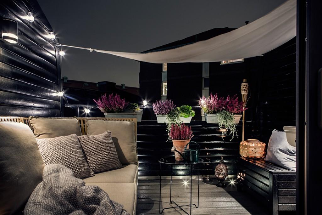 Estilo nórdico en el dormitorio terraza