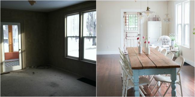 Casa de Cuento - Antes y después comedor