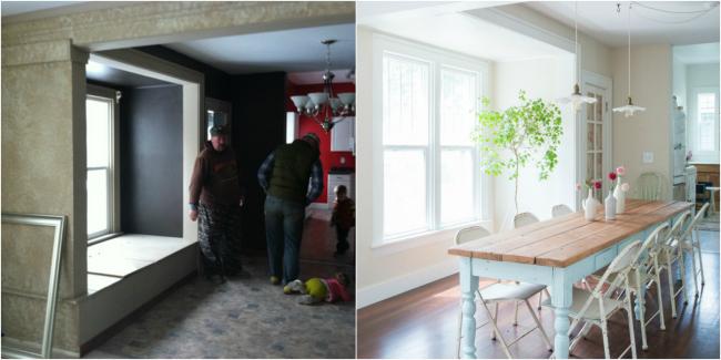 Casa de Cuento - Antes y después zona de comedor