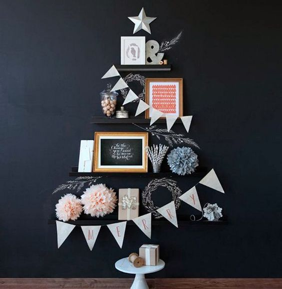 Árboles de Navidad poco tradicionales mezclando elementos