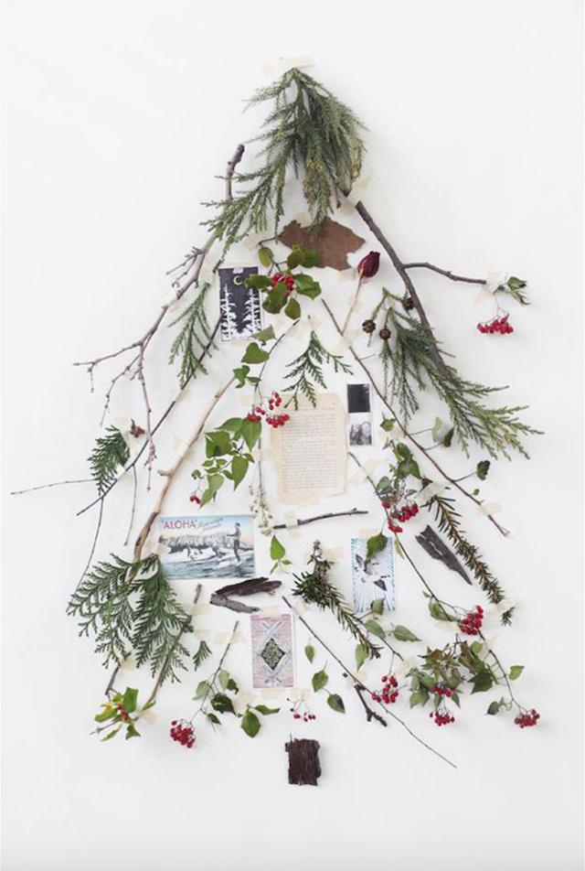 Árboles de Navidad poco tradicionales con ramas y fotografías