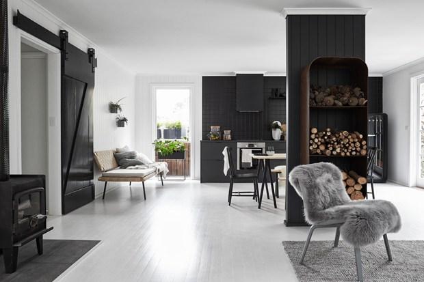 Black House en blanco y negro salón