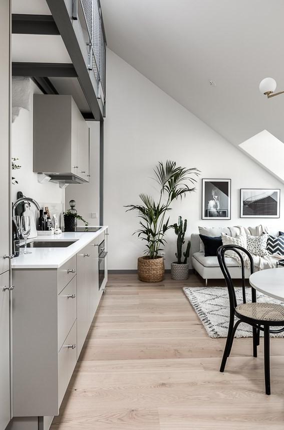 Ático con estilo nórdico industrial planta abierta