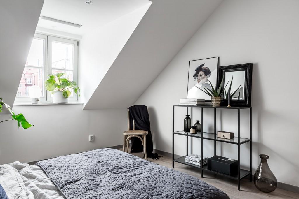 Ático con estilo nórdico industrial dormitorio
