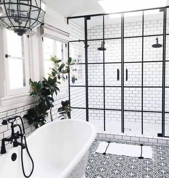Baños con ducha nórdico industrial