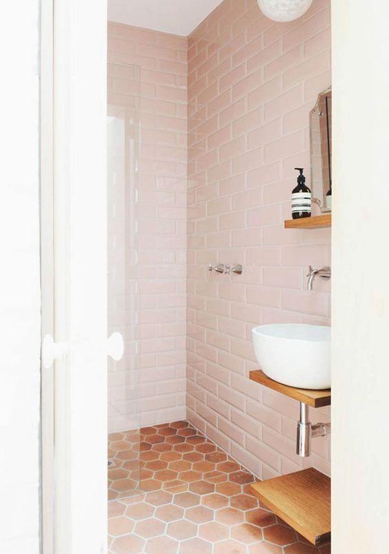 Tendencias en baños 2017 - baldosas hexagonales