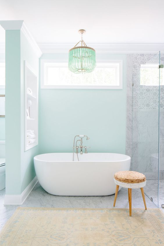 Tendencias en baños 2017 azul pastel