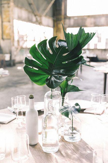 decorar mesa del día del padre con hojas
