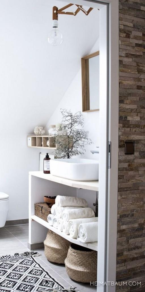 Fibras naturales en decoración nórdica baño