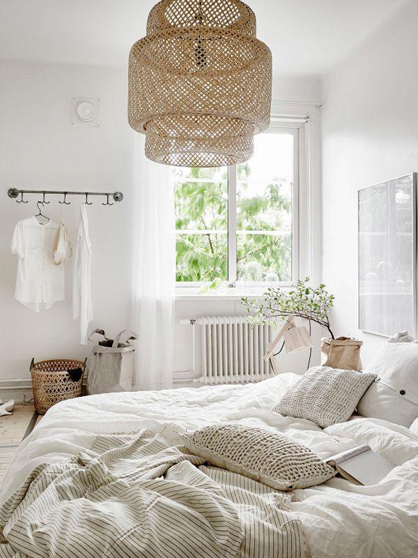Fibras naturales en decoración nórdica dormitorio