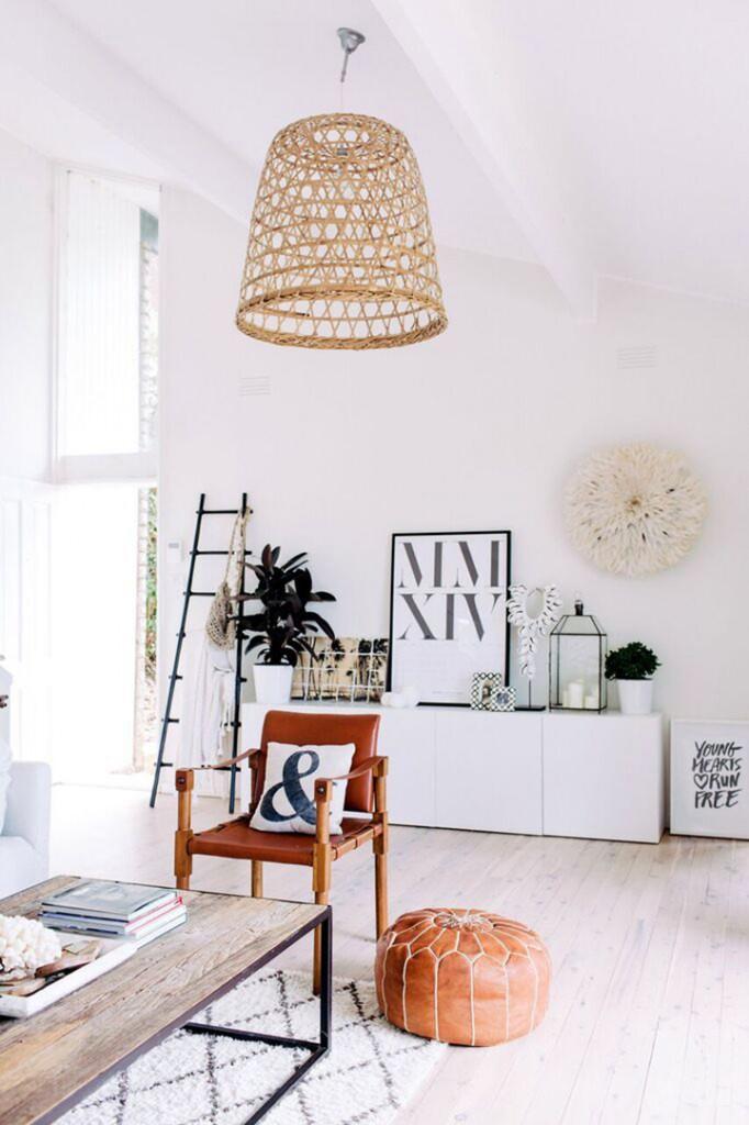 fibras naturales en decoración nórdica salón