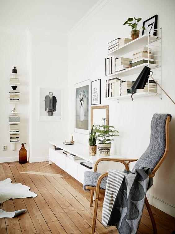Fibras naturales en decoración nórdica muebles